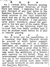 Papers report on Billy playing for Reserves.