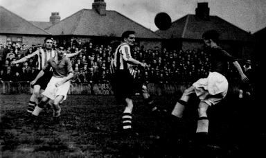 Billy (2nd from left) in action for North Shields at Croft Park.