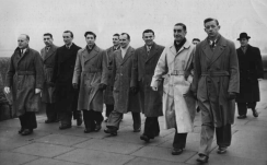 Players were pictured walking along Blyth promenade before traveling to Tranmere.